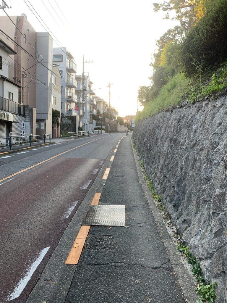国分寺駅から武蔵国分寺公園と向かう多喜窪通りの坂