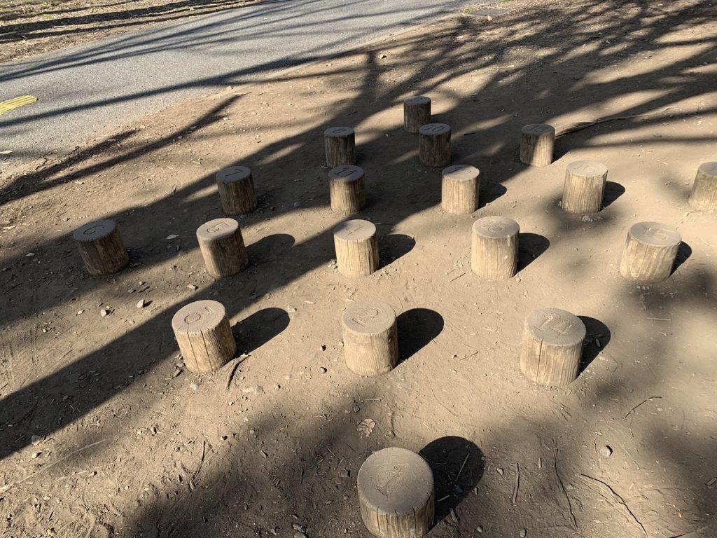リニューアル前の府中の森公園にあった数字の丸太