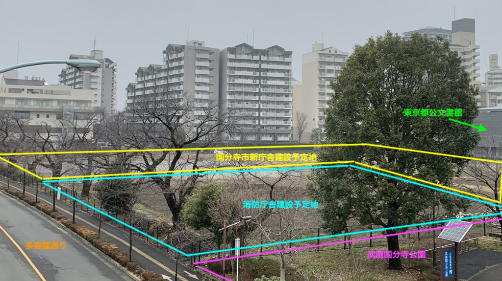 国分寺市新庁舎建設予定地(2020年2月時点)
