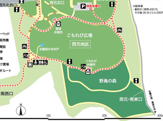 武蔵国分寺公園のマップ 西元エリア