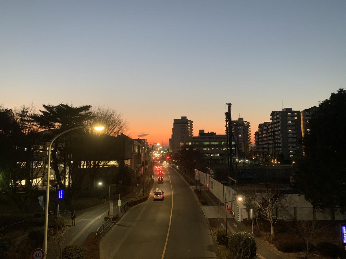 ふれあい橋から見た夕日