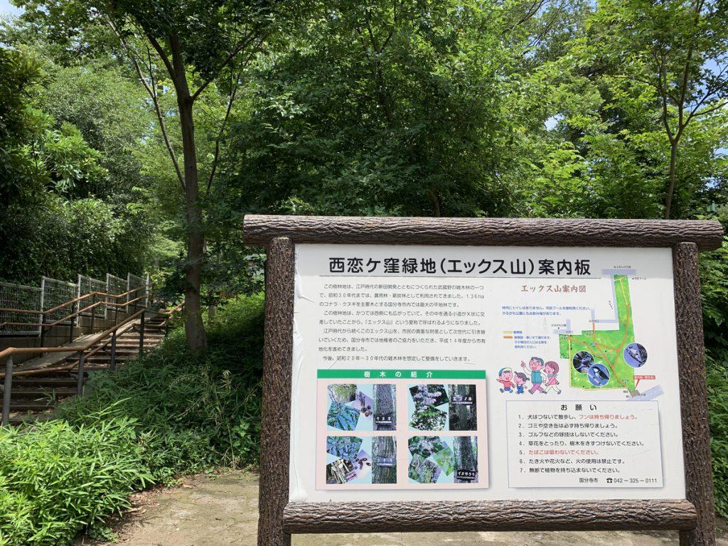 エックス山 (西恋ヶ窪緑地)の入口 熊野神社通り沿い